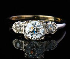 OLD EUROPEAN CUT DIAMOND 14K GOLD ENGAGEMENT RING