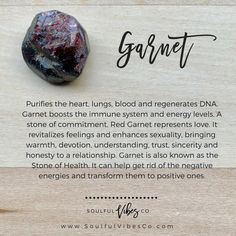 Garnet: Chakras - Base Chakra, Heart Chakra Birthstone - January Zodiac - Aries, Leo, Virgo Planet – Mars Element – Fire Available in Raw Form on our website 🔗 in bio to Crystals Minerals, Crystals And Gemstones, Stones And Crystals, Red Stones, Crystal Shop, Crystal Magic, Chakras, Crystal Healing Stones, Quartz Crystal