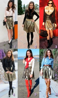 How to wear a gold lame pleated skirt 6 diferent ways from Shareen Vintage Sparkly Skirt, Gold Skirt, Gold Lame, Diy Hairstyles, Pleated Skirt, Everyday Fashion, Runway Fashion, Celebrities, My Style