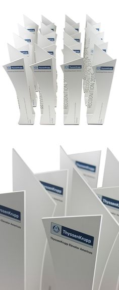 We created these custom awards for ThyssenKrupp Elevators. A simple, sleek and modern design that is also creative and timeless. Available in a range of colours.