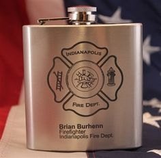 Fire Engine  Design Stainless Steel Hip Flask Firemans Gift Free Engraving