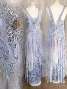 Light blue boho wedding dress airy romantic by RAWRAGSbyPK on Etsy