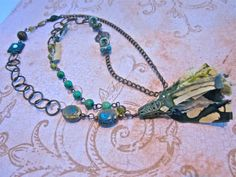 Long Asymmetrical Mossy Green Tassel Necklace, Gift for Her, Earthy Boho Tassel Necklace, Linked Bead Charm Necklace by SimplyMim on Etsy