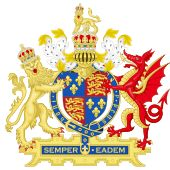"""Coat of arms of Queen Elizabeth I, with her personal motto: """"Semper eadem"""" or """"always the same"""""""