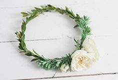 High Quality Rich Cream Garden Flower and Succulent Flower Crown with Greenery