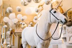 Wedding Styling & Co-ordination by Vanilla Rose Weddings & Events, Oxfordshire UK | Aynhoe Park Wedding | Bubblegum Balloons installation for a Winter wedding with a real Unicorn! | Photography by Barker Evans