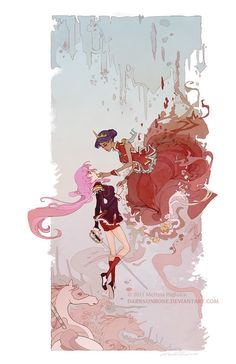 A tribute to Revolutionary Girl Utena. To Utena and Anthy, who always saw castles until their walls came falling down.    This original tribute created by Melissa Pagluica, will come signed in a protective sleeve and is shipped using the most durable shipping tubes.