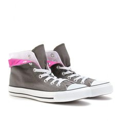 Chuck Taylor All Star 2 Fold High (charcoal canvas with folded, magenta-lined layered detail)    CHUCK TAYLOR ALL STAR 2 FOLD HIGH