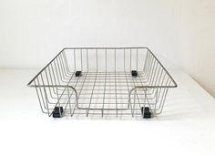 Antique Wire Office Basket .  Vintage Wire Basket . Storage .