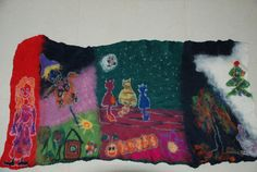 Felted home Decor table Runner Felted runnerFelted  Wall hangings original mini carpet Felted mat by Silkydream on Etsy