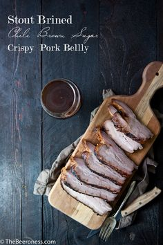 Pork belly is SO good. Brined in beer, slow cooked, and with a brown sugar chili glaze.