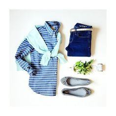 Chambray stripes and mint.
