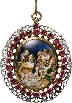 ALBION ART Historical Jewelry -    Gold, silver, ruby, glass, enamel pendant, the mid 17th century. It is a scene that is the worship of Jesus Age where two angels are being watched in St. Joseph and the Virgin Mary in a stable. Floral pattern of various colors have been decorated with enamel back.