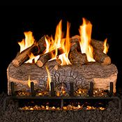 Peterson Real Fyre Mountain Crest Oak Gas Log Set With Vented Propane ANSI Certified Triple-Tier Burner - Electronic Variable Remote : BBQGuys Gas Log Burner, Gas Fireplace Logs, Fireplaces, Oak Logs, Charred Wood, Wood Sample, Fireplace Accessories, Radiant Heat, Gas Fires