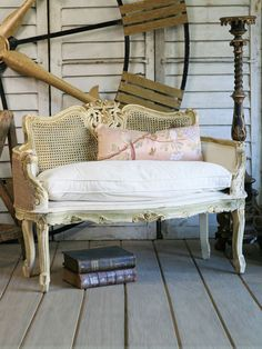 Vintage Louis XV Cane Back Settee in Gold and Cream circa 1940