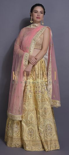 Cream yellow lehenga in silk with foil print, cut dana, beads, pita zari and gotta patches in heritage floral pattern. Lehenga Choli, Sari, Yellow Lehenga, Bridal Makeover, Print And Cut, Indian Outfits, Patches, Sequins, Free Shipping