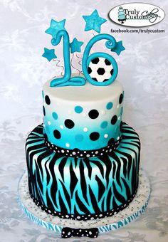 teal black zebra soccer cake
