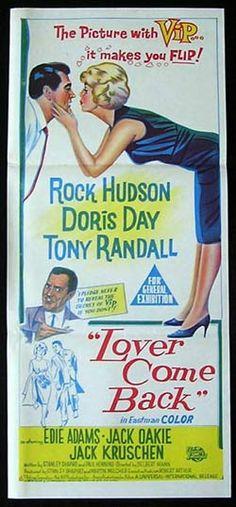 rock hudson movie posters   LOVER COME BACK Movie Poster 1961 Doris Day Rock Hudson daybill ...