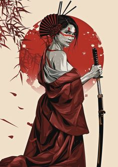 Samurai girl - Famous Last Words Female Samurai Tattoo, Samurai Drawing, Samurai Artwork, Warrior Drawing, Japanese Tattoo Art, Japanese Tattoo Designs, Japanese Art Samurai, Japanese Warrior Tattoo, Japanese Tattoos