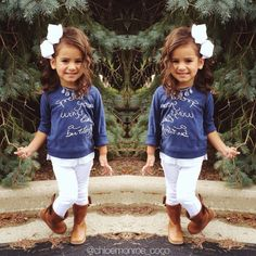 Big bows, cute boots, cute lil girl outfit