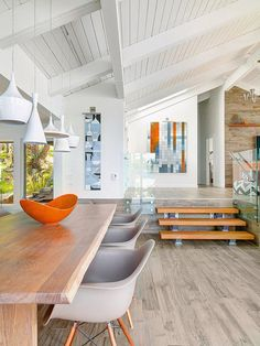flooring transition in mid-century modern house - Google Search