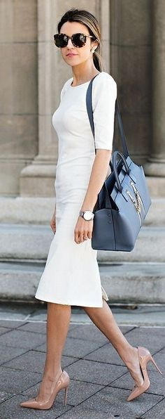 White Pencil Midi Dress, Nude Pointy Heels | Hello Fashion                                                                             Source