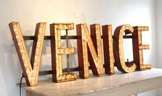 c. 1930's Massive Carnival Midway 'VENICE' Lighted Letters Sign