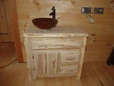 Our rustic furniture for bathroom and kitchen vanities are all handcrafted  as per customer request. Bathroom Vessel Sink ...