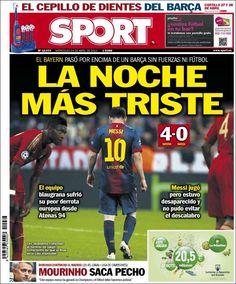 Los Titulares y Portadas de Noticias Destacadas Españolas del 24 de Abril de 2013 del Diario Deportivo Sport ¿Que le parecio esta Portada de este Diario Español?
