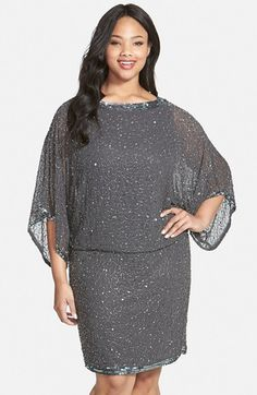 J Kara Embellished Blouson Dress (Plus Size). A glittery trail of beads and sequins traces night-sky shimmer over a filmy chiffon dress in a flattering blouson silhouette. Sheer kimono sleeves enhance the ethereal design. Dress Plus Size, Plus Size Outfits, Mother Of The Bride Dresses Plus Size, Curvy Fashion, Plus Size Fashion, Casino Dress, Plus Size Kleidung, Beaded Gown, Chiffon Dress