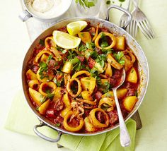 Tender summer squid with chorizo & aïoli. Squid can be slow cooked as well as flash-fried. Simmer in a Spanish-style paprika pot with new potatoes and tomatoes. Serve with garlic mayonnaise