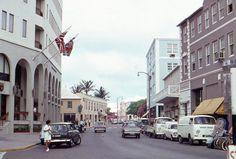 35mm Slide Bermuda Street Scene 1971 Cars Somers Building Flags Original