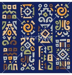 Background with elements of african ornament vector Arte Tribal, Tribal Art, Ethnic Patterns, Textile Patterns, Pattern Art, Pattern Design, African Art Paintings, Indian Folk Art, Africa Art