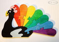 Puzzle en bois, paon, animal, arc-en-ciel, jouet enfant