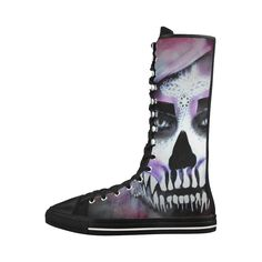 zombie-SUGARSKULL Canvas Long Boots For Women Model 7013H #boots #shoes #horror #sugarskull #dayofthedead #sale #trending