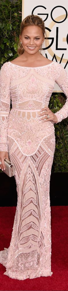 ON THE RED CARPET  via LOLO repin by BellaDonna *updated * Chrissy Teigen 2015 Golden Globes