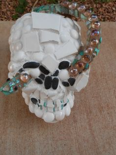 Halloween Scary Skull and Snake Ceramic Tile by LesalovesMosaicArt,