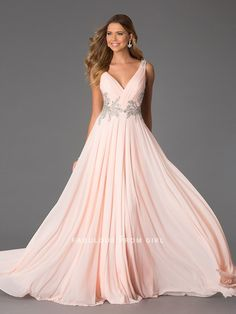 A-line Rhinestone Chiffon Prom Dresses / Evening Dresses