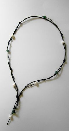 Freshwater Pearl and Leather Necklace With Swarovski Crystals Womens Knotted Pearl and Leather $29.99