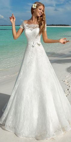 Alluring Lace Off-the-shoulder Neckline A-line Wedding Dresses With Lace  Appliques 02bfdef54ca