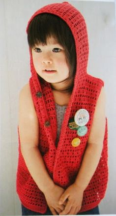 Hooded Vest for a Girl free crochet pattern