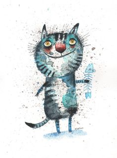 The light blue cat with a fish Fine Art print от ozozo на Etsy