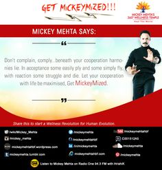 "#GetMickeymized:  ""Let your cooperation with life be maximised ,get #Mickeymized.""  Share this to start a #wellness revolution for #human evolution.  Reebok 'Fit in 15' Ep. 1 https://youtu.be/iVBu_QxA94E"