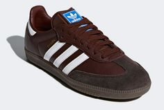 Adidas Samba OG trainers reissue in brown leather - Adidas Samba - Ideas of Adidas Samba - Adidas Samba OG trainers reissue in brown leather Adidas Spezial, Adidas Retro, Adidas Samba, Adidas Originals, Trainers, Fashion Shoes, Brown Leather, Sportswear, Adidas Sneakers