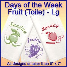 A Days of the Week Fruit (Toile) Pack - Lg