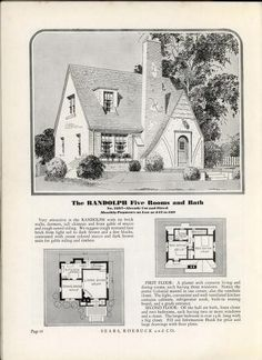 Homes of Today~Sears Kit Cottage Floor Plans, Craftsman House Plans, House Floor Plans, Craftsman Style, Storybook Homes, Storybook Cottage, Tudor Cottage, Tudor House, Cottage Living