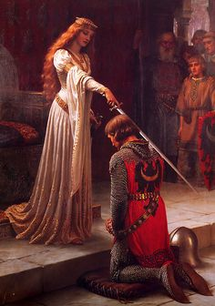 """Edmund Blair Leighton (1853-1922) was a British painter of the Pre-Raphaelite movement. Many of his works touch the Middle Ages. Among his best known paintings, found """"The Accolade"""" (The dubbing) and """"God Speed"""" (God protect you)."""