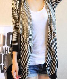 Stylish Loose Fitting Large Collar Stripe Long Sleeve Knitting Cardigan for  Women a69305154