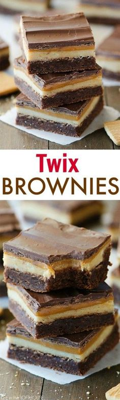 Twix Brownies - Amazing brownies with a caramel and shortbread layer, just like the candy bar! Click through for recipe!