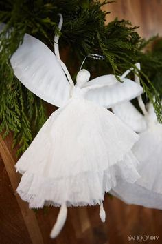 You wouldn't think it, but this gorgeous DIY angel garland is made from household items.